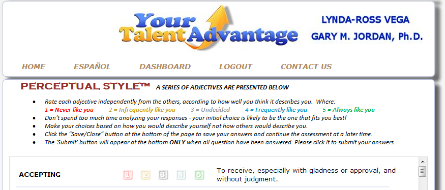 Instructions for the Perceptual Styles Assessment - the basis for Your Talent Advantage Owner's Manual