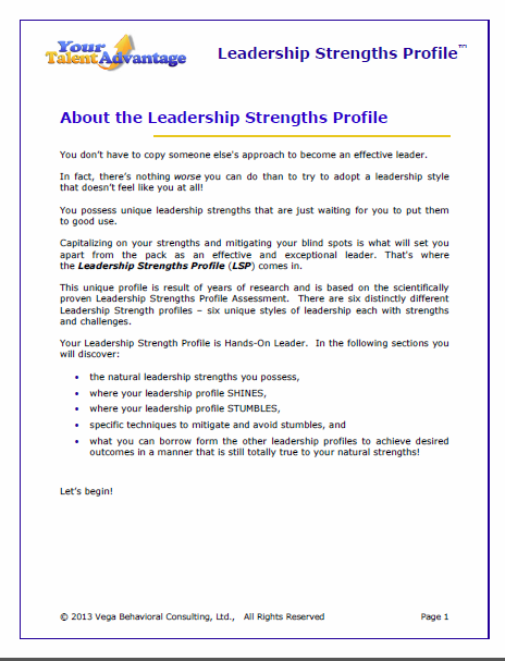 Here's an excerpt from Volume 2 - Leadership Your Way for a Hands-On Leader