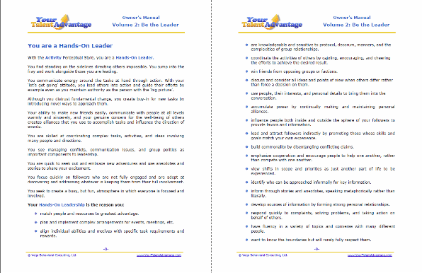 Excerpt from Your Talent Advantage Owner's Manual Volume 2 - Be the Leader You Were Born to Be