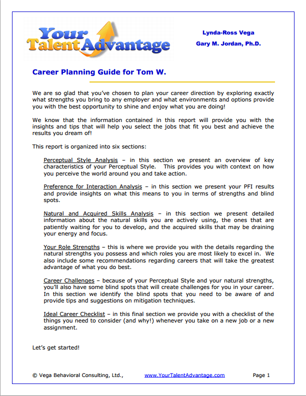 Sample Of The Content Of A Career Planning Guide (results From Your Talent  Advantage Success